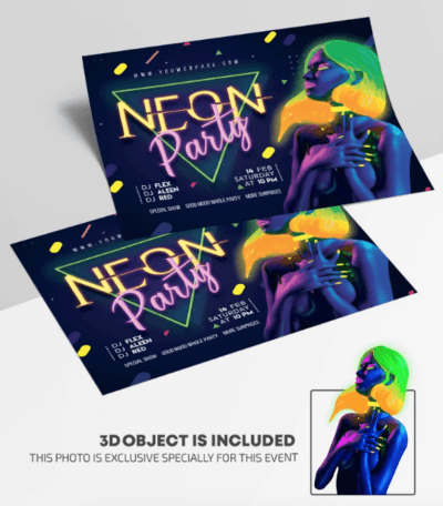 Neon ClubNight – Free PSD Flyer Template