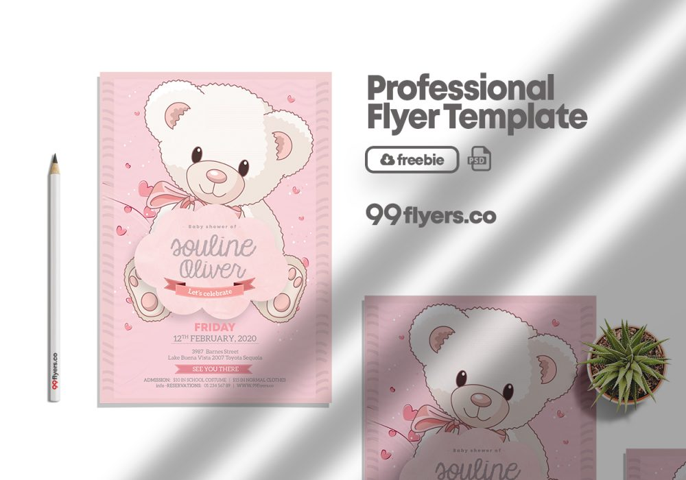 New Born Baby Girl PSD Free Flyer Template