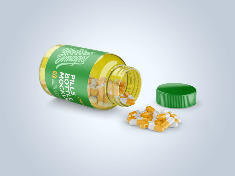 Opened Transparent Bottle with Pills Free Mockup