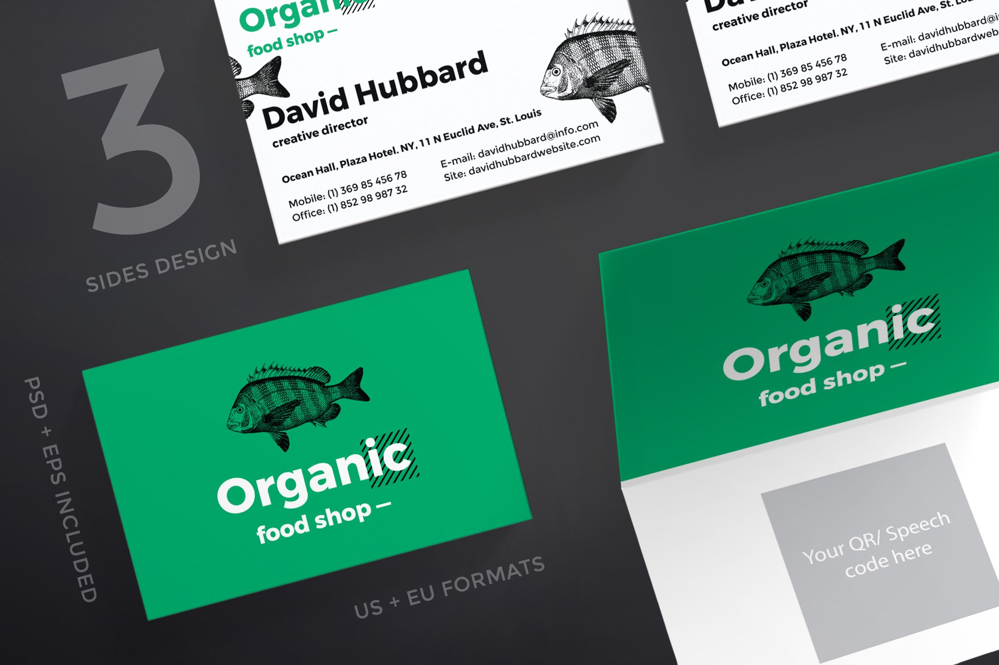 Organic Eco Food Free Business Card PSD Template
