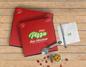 Pizza Box Package Free Mockup