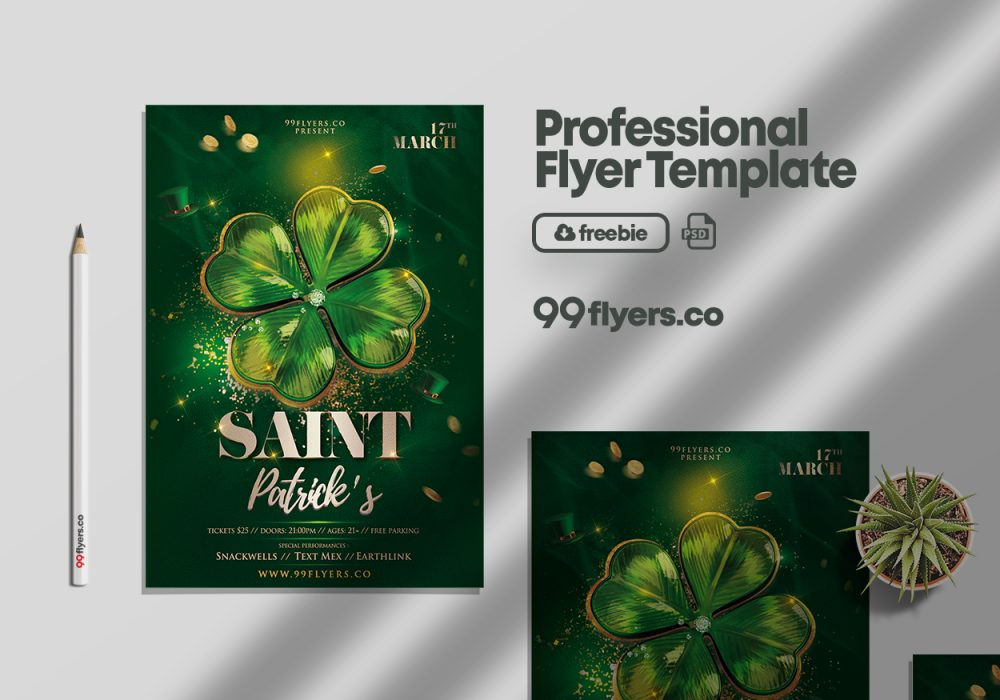 Saint Patrick's Celebration PSD Free Flyer Template
