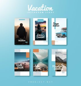 Set of Free Vacation Summer Instagram Stories PSD Templates