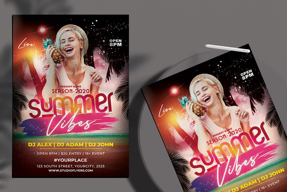 Summer Party Free PSD Flyer Template Vol5