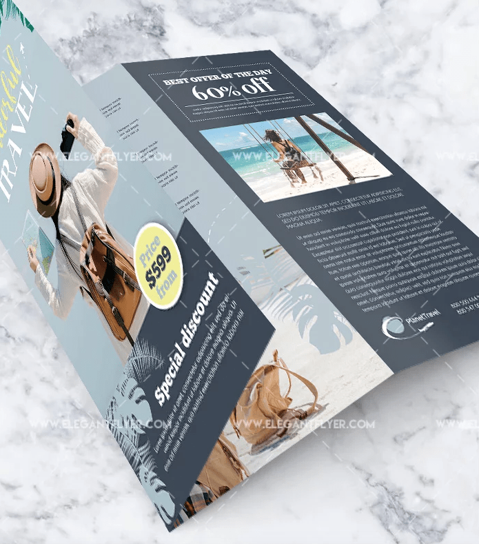 Summer Travel Free PSD Bi-Fold Brochure Template