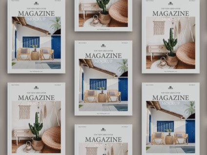 Top View Grid Cover Magazine Free Mockup