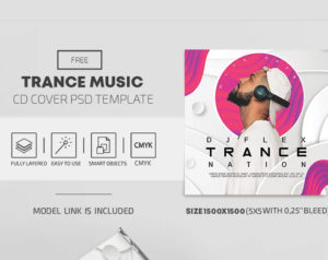 Trance Music Free PSD CD Cover Template