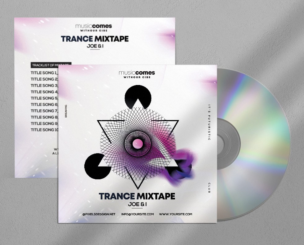 Trance Music Mixtape Free CD Album PSD Template