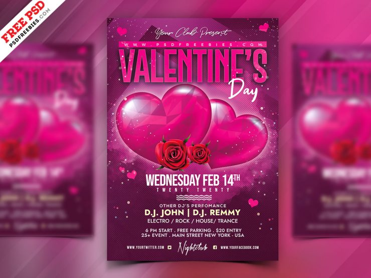 Valentine's Day Celebration Freebie PSD Flyer