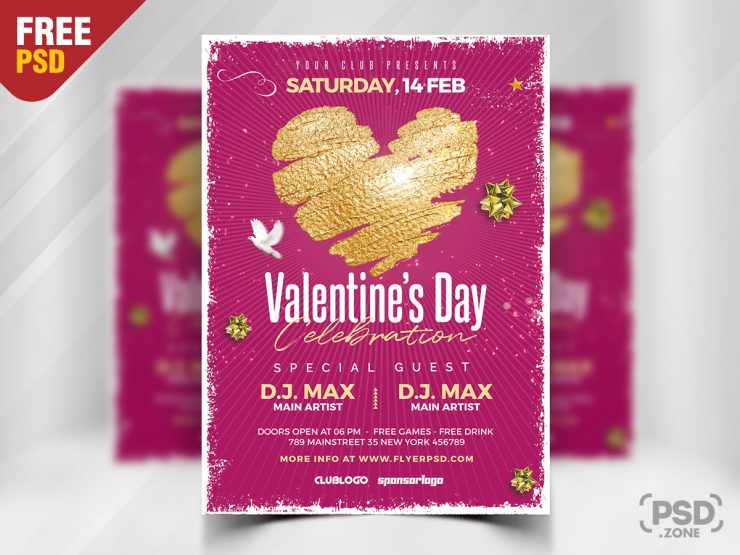 Valentine's Day Events PSD Free Flyer Template