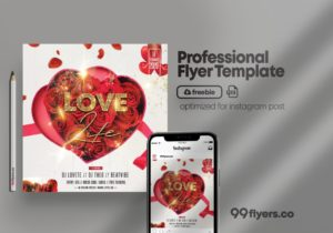 Valentine's Flyer for Instagram Free PSD Template
