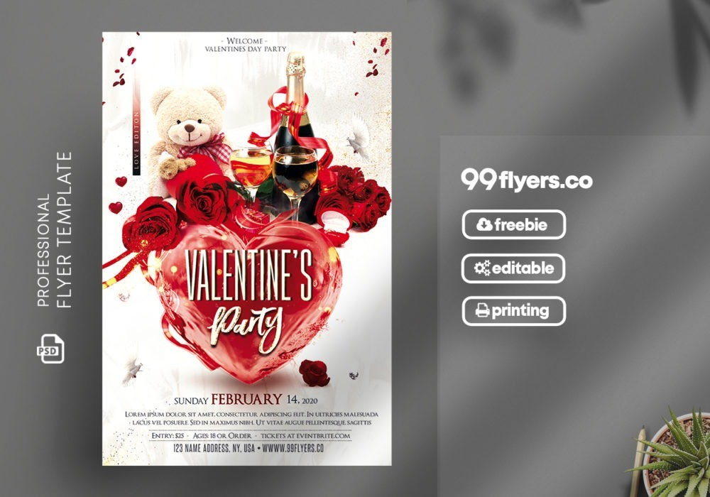 Valentines Party Flyer – Free PSD Template