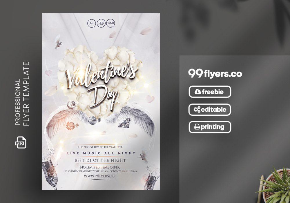 White Valentine's Party Free PSD Flyer Template