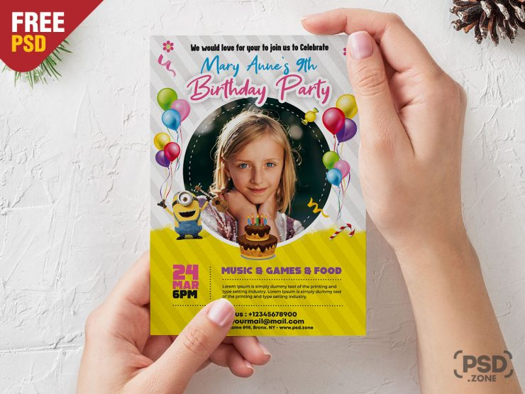 Kids Birthday Invitation Free PSD Template