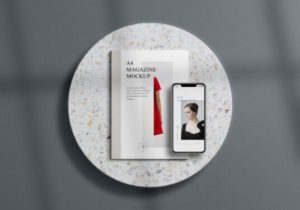 A4 Magazine with iPhone Free Mockup