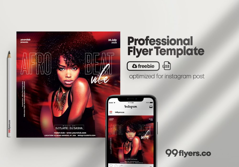 Afro Party - Freebie PSD Flyer Template