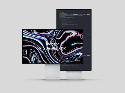 Apple Pro Display XDR (Landscape & Portrait) Free Mockup