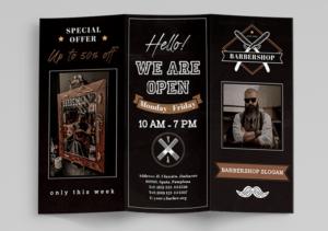 Barbershop Tri-Fold Brochure Free PSD Template