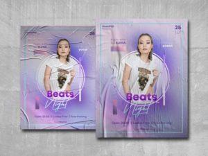 Beats Night Free PSD Poster Template
