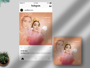 Beauty & MakeUp Free Instagram Post PSD Template