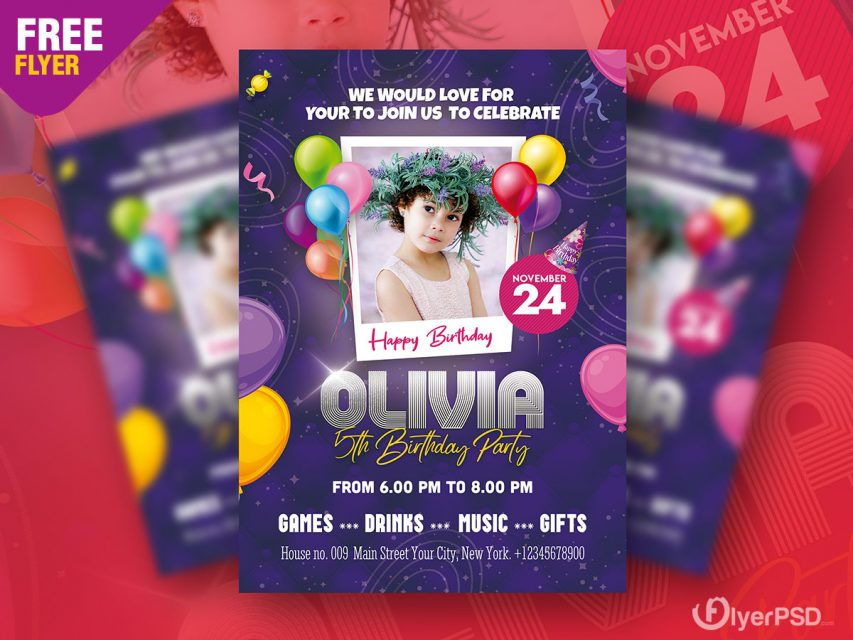 Birthday Kid Invitation Free PSD Flyer Template