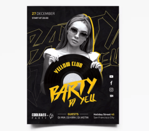 Black Party Free PSD Flyer Template