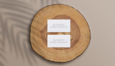 Business Cards on a Wood Slice Free Mockup
