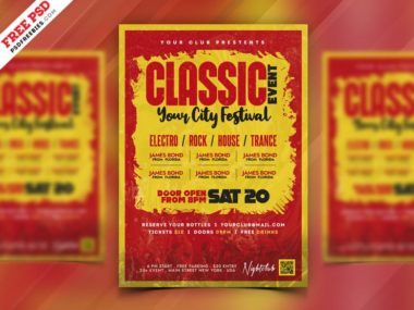 Classic Music Party PSD Free Flyer Template