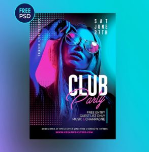Club Party – Free Colorful PSD Flyer Template