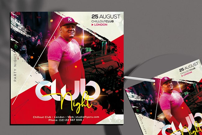Club Party PSD Free Flyer Template v4