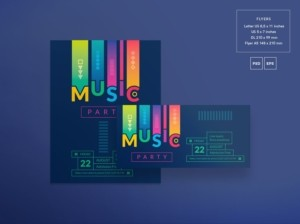 Colored Music Free PSD Flyer Template