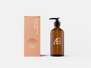Cosmetics Pump Bottle with Box Free Mockup