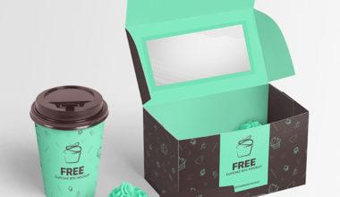Cupcake Box Free Mockup