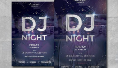 DJ Night Party Free PSD Flyer Template