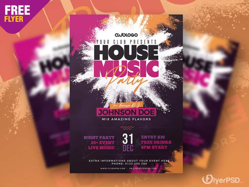 Deep House Party PSD Free Flyer Template