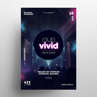 EDM Club Party Free PSD Flyer Template vol2