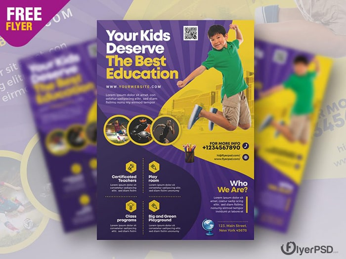 Education School PSD Free Flyer Template