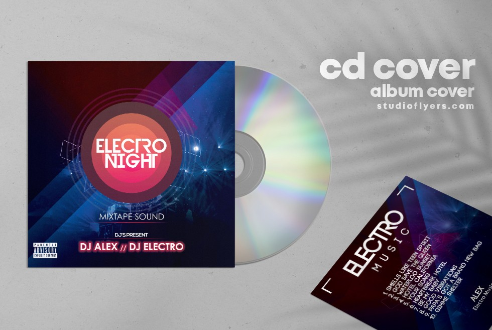 Electro Music Free CD Artwork PSD Template