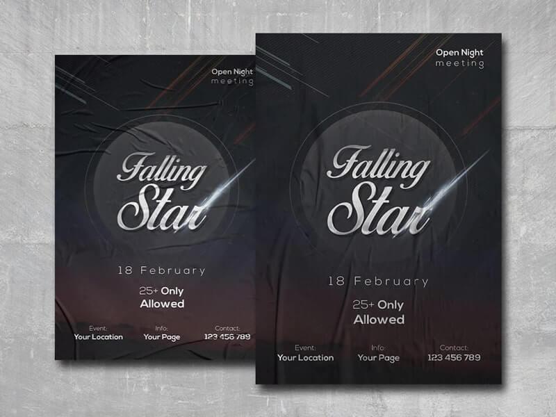 Falling Stars Free PSD Flyer Template