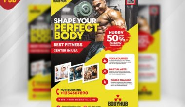 Fitness Center Free Gym PSD Flyer Template