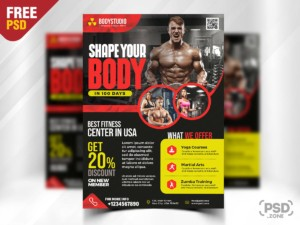 Fitness Center Free PSD Flyer Template