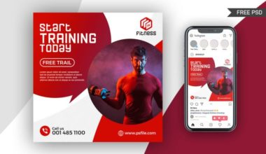 Fitness Training Instagram Post Free PSD Template
