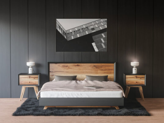 Framed Poster on Bedroom Wall Free Mockup