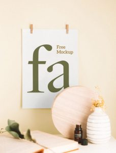 Free Poster with Clips Mockup (PSD)