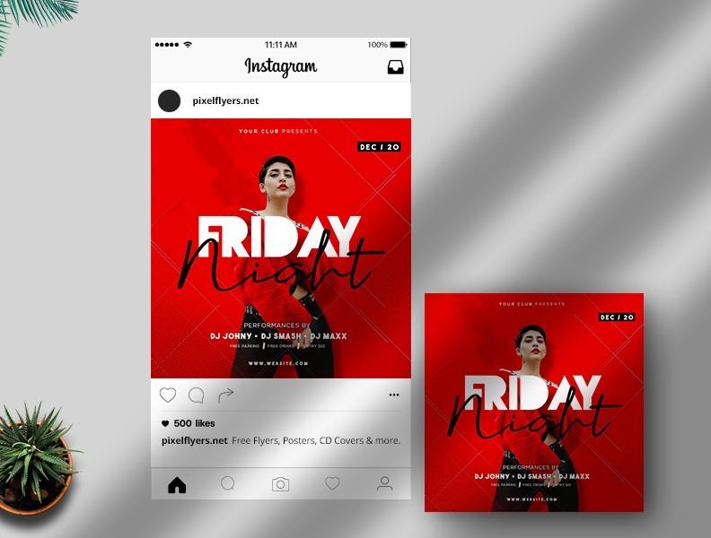 Friday Night DJ - Free PSD Instagram Template
