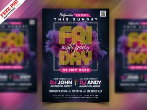 Friday Party – Free DJ PSD Flyer Template