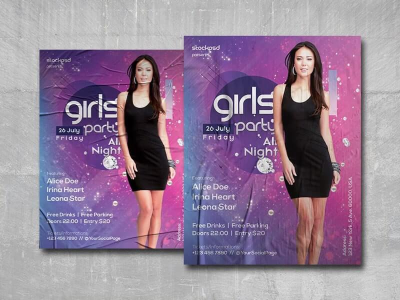 Girls Night Party Free PSD Poster Template