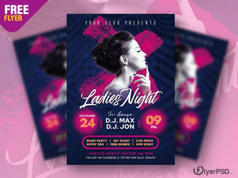 Girls Vibe Party Free PSD Flyer Template