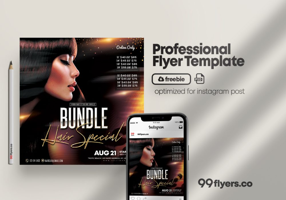 Hair Bundles & Style Free PSD Flyer Template