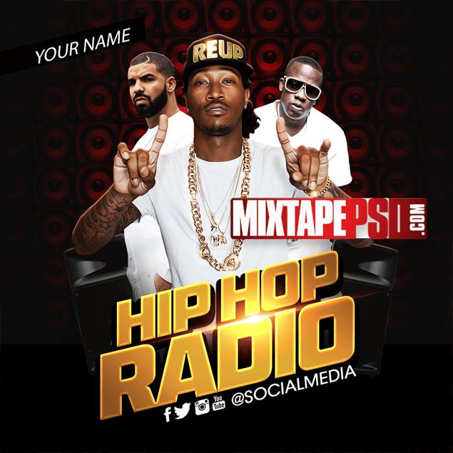 Hip Hop Radio 6 Free Mixtape Cover PSD Template